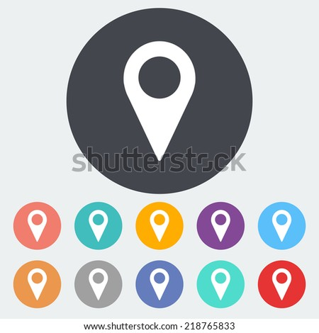 Map pointer. Single flat icon on the circle. Vector illustration. - stock vector