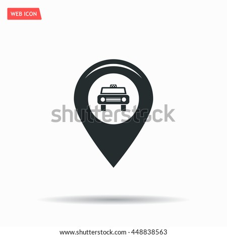 Map pointer with car icon. Vector illustration - stock vector