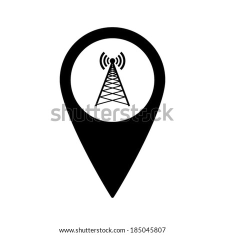 Map pointer with Cell Phone Tower Icon - stock vector
