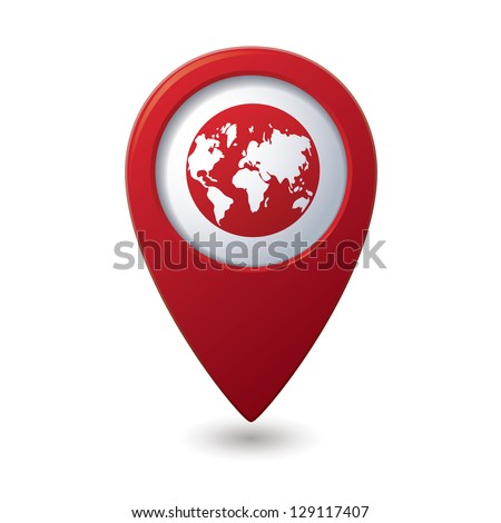 Map pointer with earth globe icon. Vector illustration - stock vector