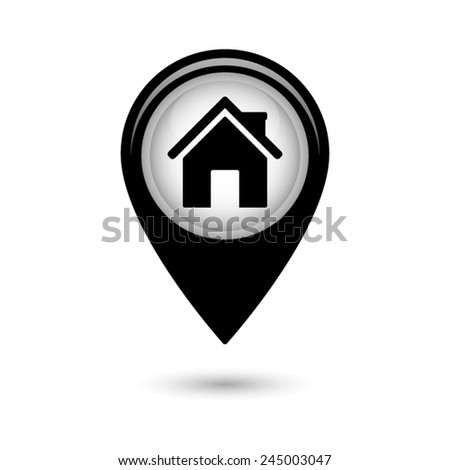 Map pointer with Home  icon - stock vector