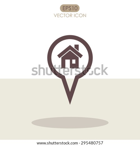 Map pointer with house vector icon. Home location marker symbol. - stock vector