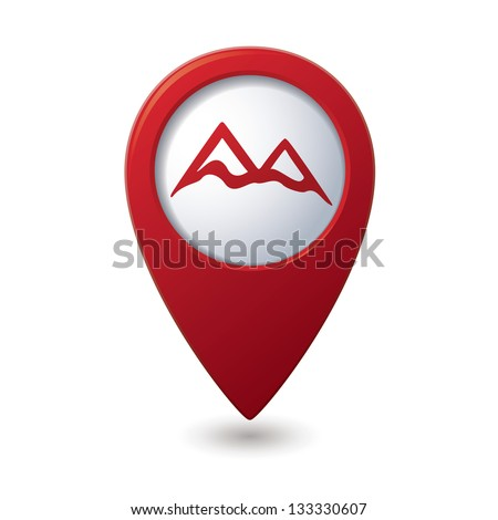 Map pointer with mountain icon. Vector illustration - stock vector