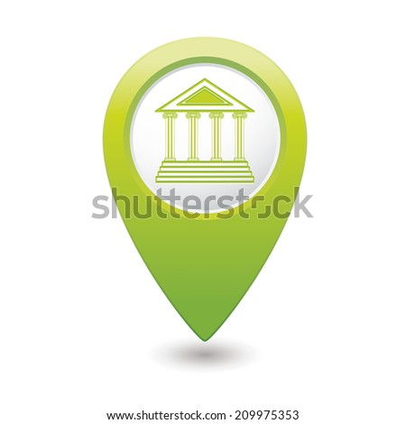 Map pointer with museum icon. Vector illustration - stock vector