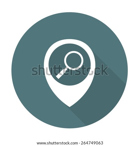 map pointer with search icon. vector illustration - stock vector
