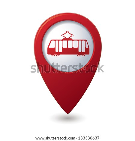 Map pointer with tram icon. Vector illustration - stock vector