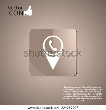 Map pointer with white phone icon. Made in vector - stock vector