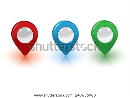 Map pointers, red, blue and green - stock vector