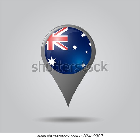 Map pointers with flag and 3D effect on grey background - Australia - stock vector