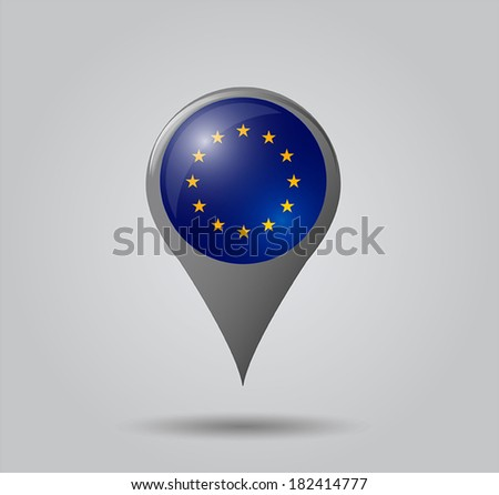 Map pointers with flag and 3D effect on grey background - European Union - stock vector