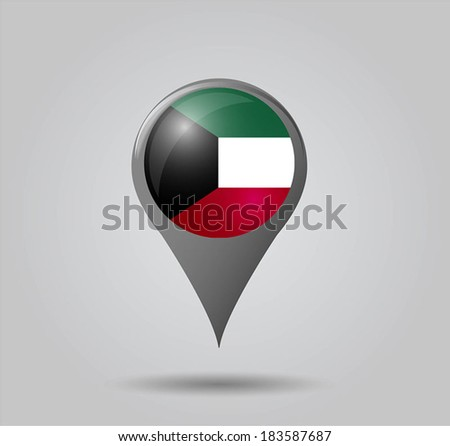 Map pointers with flag and 3D effect on grey background - Kuwait - stock vector