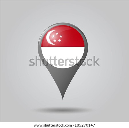 Map pointers with flag and 3D effect on grey background - Singapore - stock vector