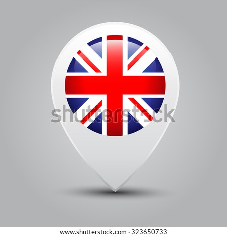 Map pointers with flag United Kingdom - stock vector