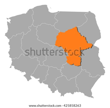 Map - Poland, Masovian - stock vector