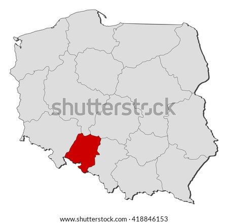 Map - Poland, Opolskie - stock vector