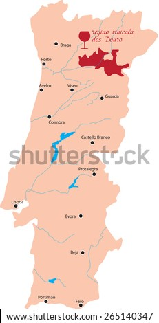 map region of Douro  in Portugal - stock vector