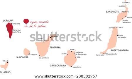 map region of la palmai in Canary Islands - stock vector