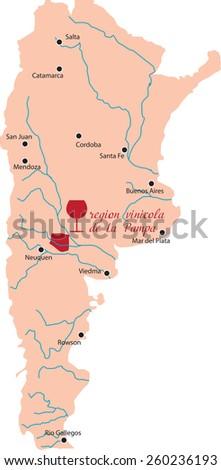 map region of La Pampa in Argentina - stock vector