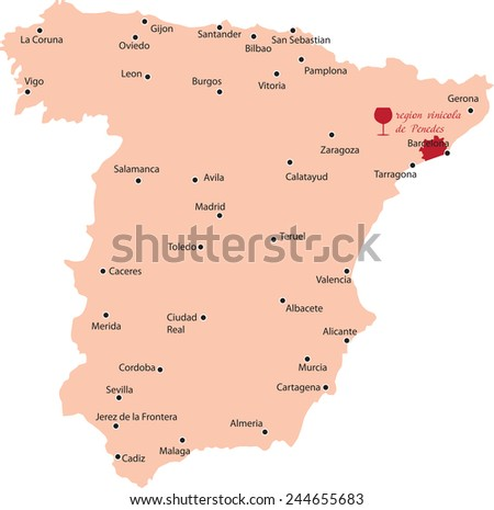 map region of penedes in Spain - stock vector