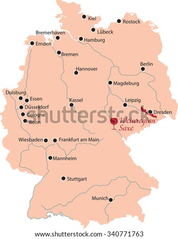 map region of saxe in Germany - stock vector