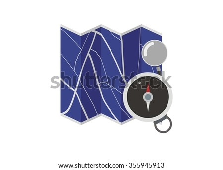 map simple illustration with compass and magnifier - stock vector