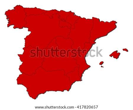Map - Spain - stock vector