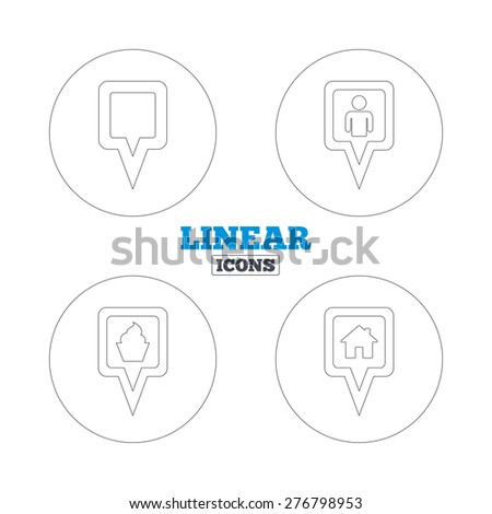 Map square pointer icons. Home, food and user location symbols. Restaurant and cupcake signs. You are here. Linear outline web icons. Vector - stock vector