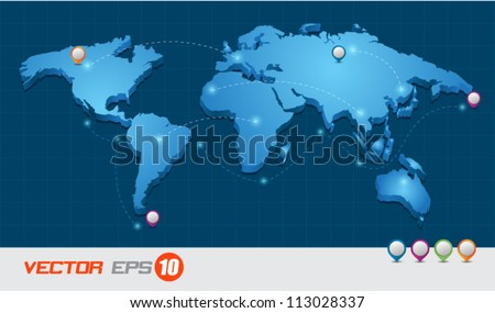 Map transport 3d, can use for business concept, education diagram, brochure object. - stock vector