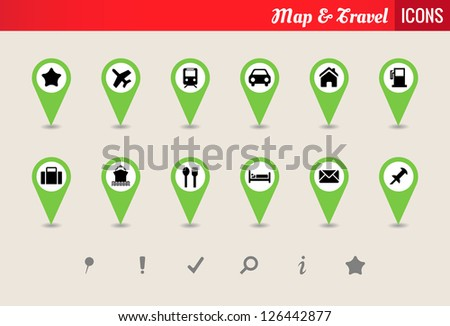 Map & Travel Vector Icon Set - Collection of map and travel vector icons - stock vector