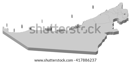 Map - United Arab Emirates - 3D-Illustration - stock vector