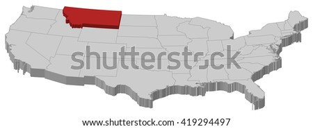 Map - United States, Montana - 3D-Illustration - stock vector