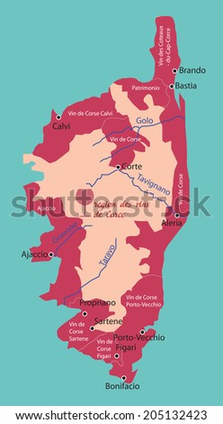 map wine region of Corsica - stock vector