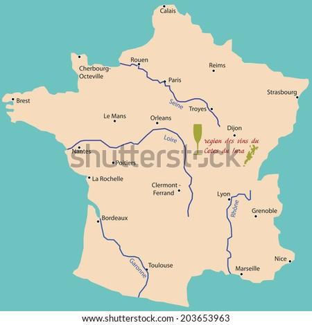 map wine region of jura in France - stock vector