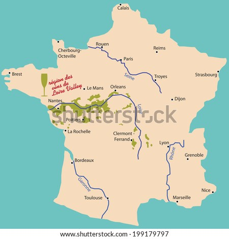map wine region of Loire Valley in France - stock vector