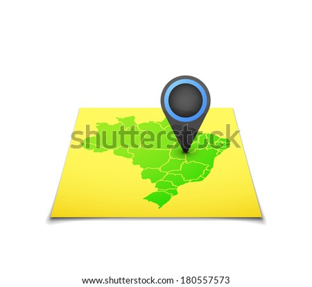 Map with a marker on Brazil, vector background illustration - stock vector