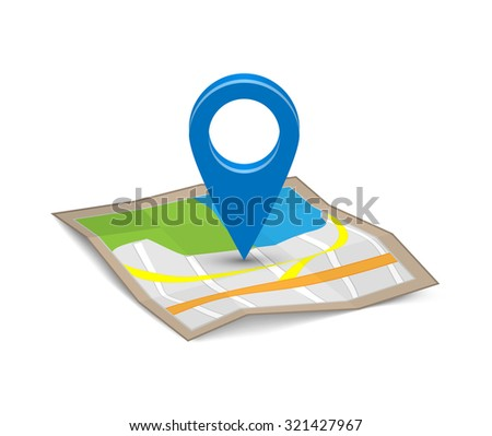 Map with a pin - stock vector