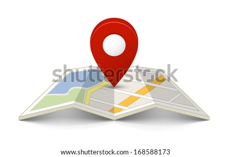 Map with a pin isolated on white - stock vector