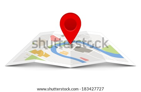 Map with a pin isolated on white. Fully transparent. Any background can be used.  - stock vector
