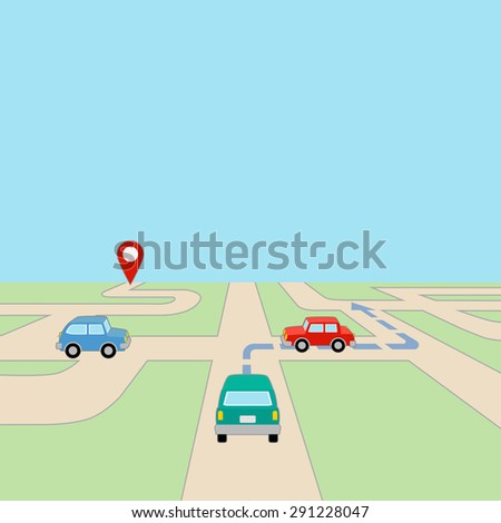 Map with Cars at Intersection and GPS Route on Road, grouped and layered EPS10  - stock vector