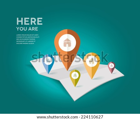 Map with different color point markers. Vector Illustration. - stock vector