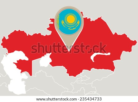 Map with highlighted Kazakhstan map and flag - stock vector