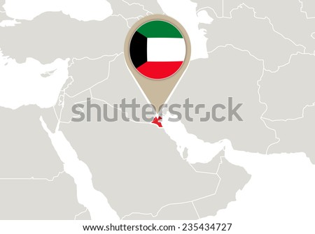 Map with highlighted Kuwait map and flag - stock vector