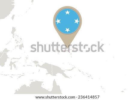 Map with highlighted Micronesia map and flag - stock vector