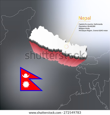 Map with highlighted Nepal map and flag - stock vector