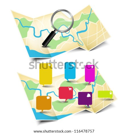 Map with magnifying glass and stickers - stock vector