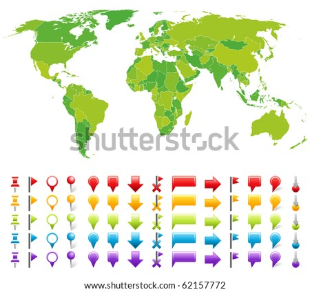 Map with marks. Vector set of simple symbol. - stock vector