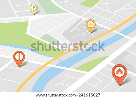 Map with pin pointers - stock vector