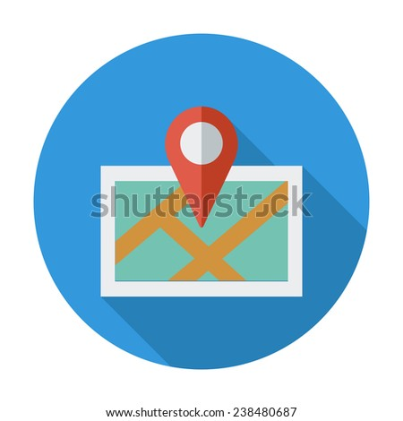 Map with pin. Single flat color icon. Vector illustration. - stock vector