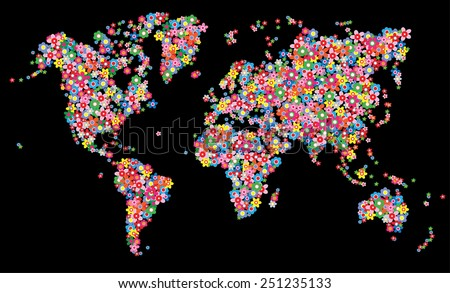 map world flowers environ - stock vector