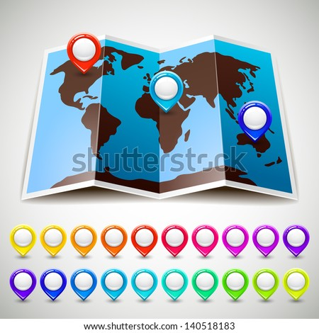 Map world with colorful pin pointers location. Vector illustration 10eps - stock vector